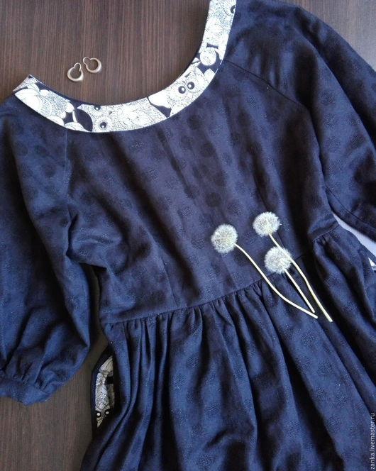 """Платья ручной работы. Ярмарка Мастеров - ручная работа. Купить Платье льняное """"Ночная птица"""". Handmade. Однотонный, платье от дизайнера"""