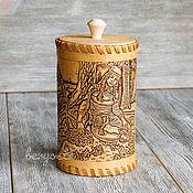 Посуда handmade. Livemaster - original item Birch bark box,