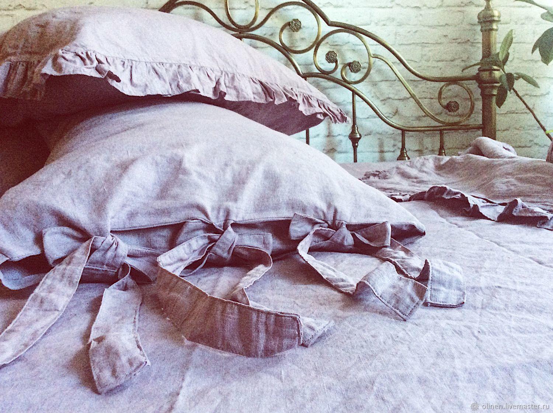 Текстиль, ковры ручной работы. Ярмарка Мастеров - ручная работа. Купить Льняное постельное белье наволочки с рюшками и с завязками. Handmade.