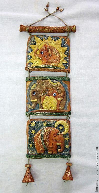 """Животные ручной работы. Ярмарка Мастеров - ручная работа. Купить Панно """"Пять слонов"""". Handmade. Слоны, обереговая символика"""