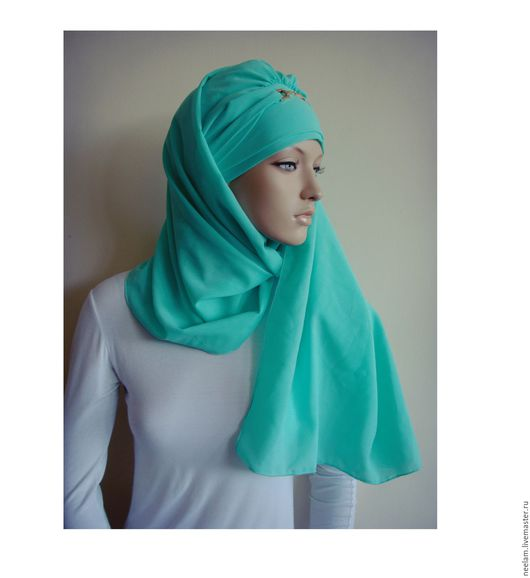"""Этническая одежда ручной работы. Ярмарка Мастеров - ручная работа. Купить Тюрбан-хиджаб """"элеганстность"""" мятный. Handmade. Голубой"""