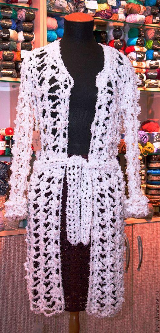 """Кофты и свитера ручной работы. Ярмарка Мастеров - ручная работа. Купить Кардиган ажурный """" Белый снег """". Handmade."""