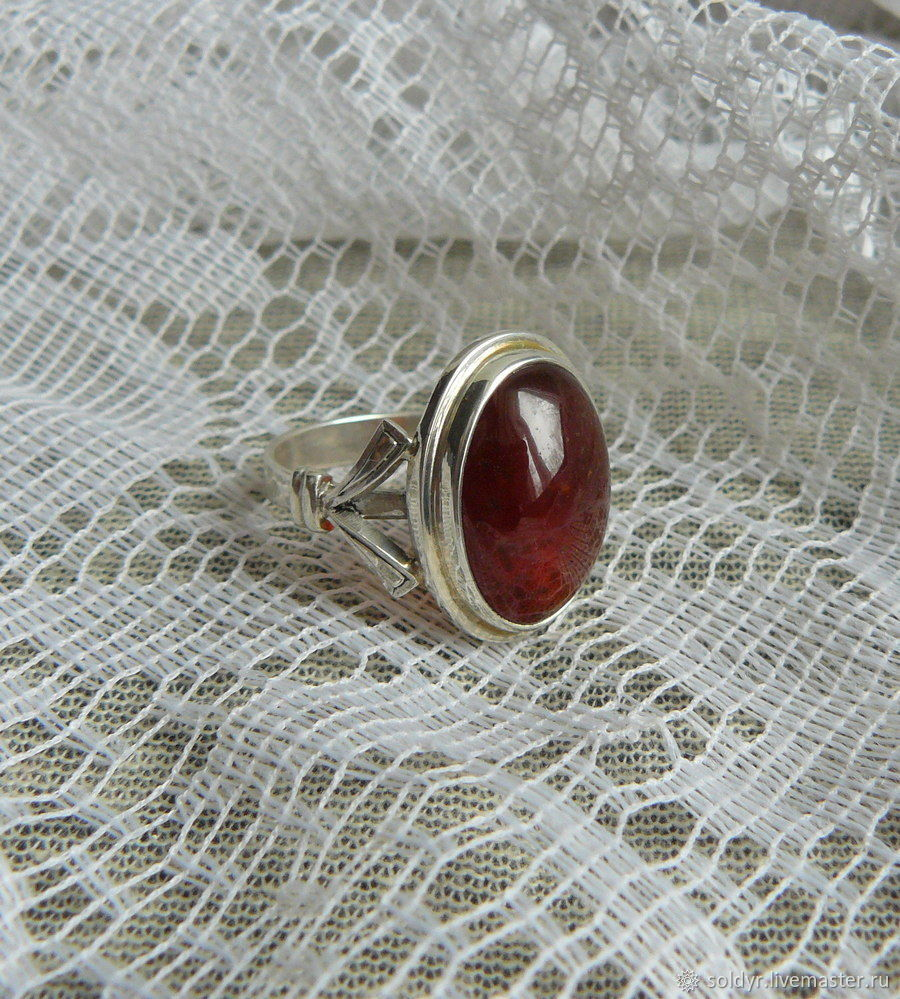 Ring with garnet, silver, Rings, Glazov,  Фото №1