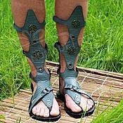Обувь ручной работы handmade. Livemaster - original item gladiators of rome from the gray textured leather kroko unisex. Handmade.
