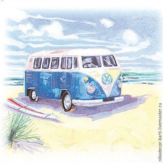 Декупаж и роспись ручной работы. Ярмарка Мастеров - ручная работа. Купить Автобус на пляже (211403) - салфетка для декупажа. Handmade. Разноцветный