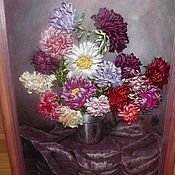Картины и панно ручной работы. Ярмарка Мастеров - ручная работа Вышивка лентами осенний букет. Handmade.