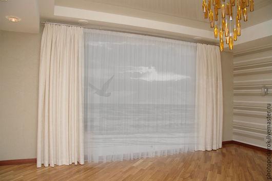 Текстиль, ковры ручной работы. Ярмарка Мастеров - ручная работа. Купить Штора Живое море. Handmade. Серый, штора, шторы