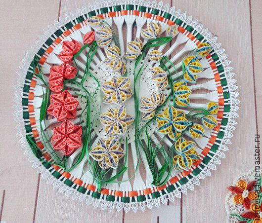 Картины цветов ручной работы. Ярмарка Мастеров - ручная работа. Купить Очень красочная картина из вилок и техники оригами.. Handmade.