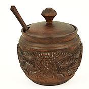 Посуда ручной работы. Ярмарка Мастеров - ручная работа Сахарница резная деревянная с ложкой. Handmade.