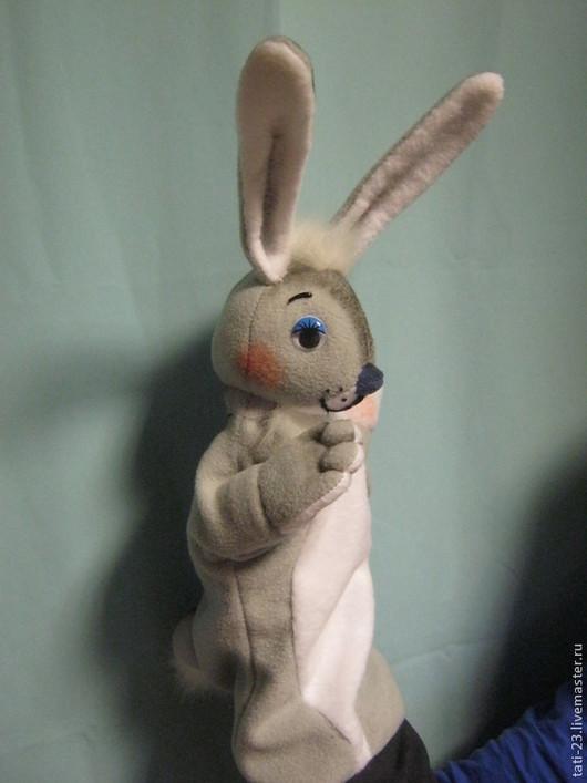 Кукольный театр ручной работы. Ярмарка Мастеров - ручная работа. Купить Театральная перчаточная кукла Зайка. Handmade. Разноцветный, флис
