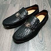 Обувь ручной работы handmade. Livemaster - original item Men`s moccasins, made of genuine python leather, in black!. Handmade.