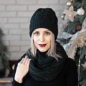"""Аксессуары handmade. Livemaster - original item Set knitted """"Air meringue""""-hat and snood. Handmade."""