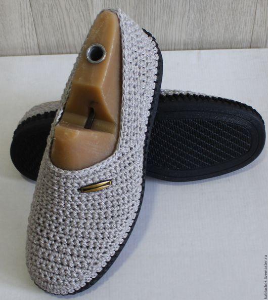 Обувь ручной работы. Ярмарка Мастеров - ручная работа. Купить Мужские мокасины из хлопка. Handmade. Бежевый, обувь для улицы, бежевые