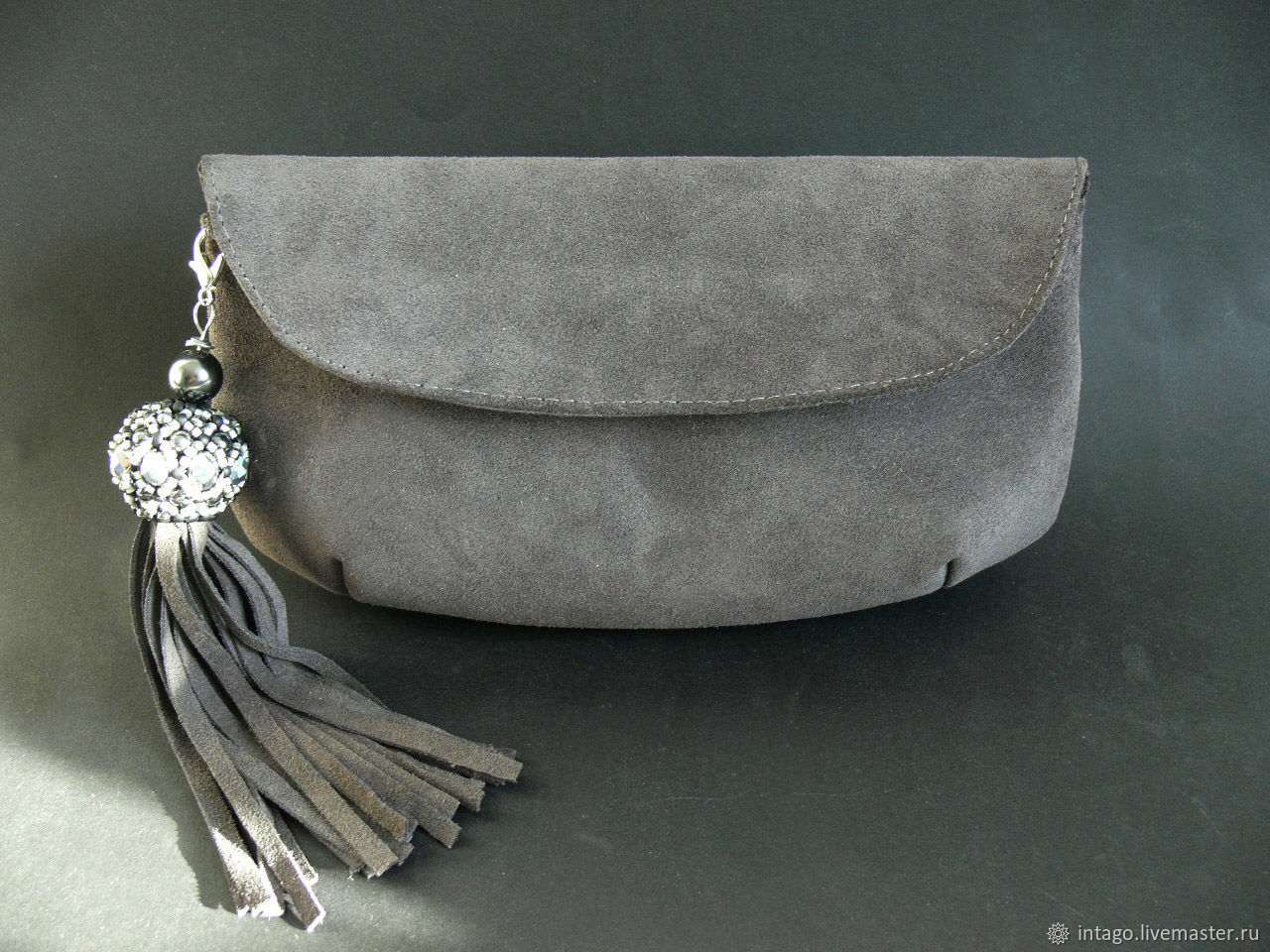 clutches: Dark grey suede clutch with a brush, Clutches, Novosibirsk,  Фото №1