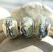 Материалы для творчества handmade. Livemaster - original item Beads for bracelet Marble lampwork. Handmade.