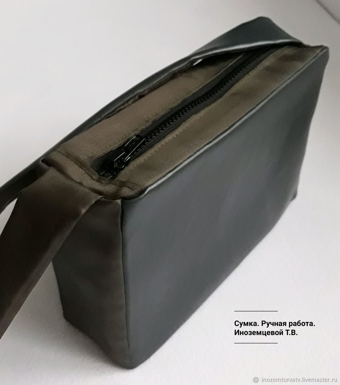 Shoulder bag in gray and khaki.Eco-leather, Crossbody bag, Moscow,  Фото №1