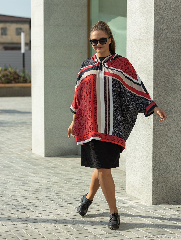 Anorak tunic with hood red and grey peas, Tunics, Novosibirsk,  Фото №1