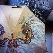 Аксессуары ручной работы. Ярмарка Мастеров - ручная работа Зонт с авторской росписью Стимпанк-крылья. Handmade.
