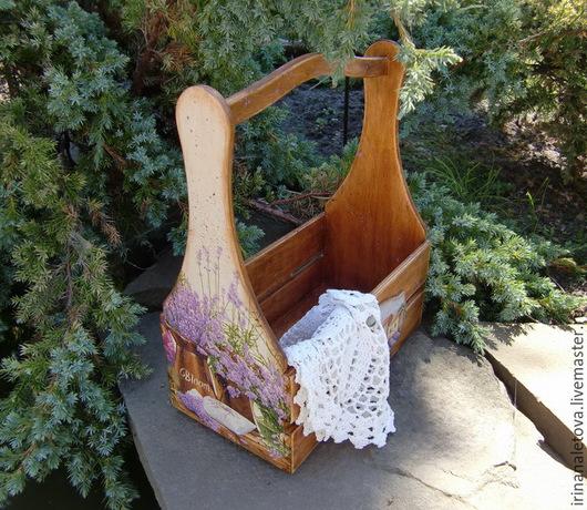 """Корзины, коробы ручной работы. Ярмарка Мастеров - ручная работа. Купить Короб, корзинка для кухни, дачи """" Лавандовый сад  """". Handmade."""