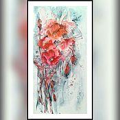 """Картины и панно ручной работы. Ярмарка Мастеров - ручная работа Картина на рисовой бумаге """" Маки после дождя"""". Handmade."""
