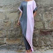 Одежда ручной работы. Ярмарка Мастеров - ручная работа Серо-розовое длинное макси платье, кафтан, абайя, ручная работа. Handmade.