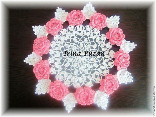 Текстиль, ковры ручной работы. Ярмарка Мастеров - ручная работа. Купить Салфетка с розами. Handmade. Бледно-розовый, Салфетка вязаная