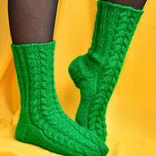 Аксессуары ручной работы. Ярмарка Мастеров - ручная работа Носки шерстяные (зеленые  женские вязаные теплые шерстяные носочки). Handmade.