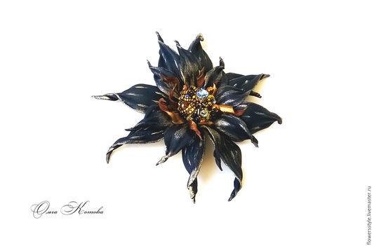 Броши ручной работы. Ярмарка Мастеров - ручная работа. Купить Темно синяя брошь из кожи Путеводная звезда. Handmade.