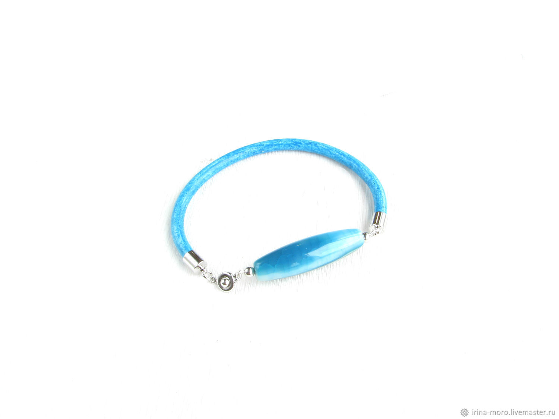 Stylish blue agate bracelet 'Tide' bracelet with stone, Bead bracelet, Moscow,  Фото №1