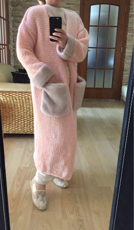 Кардиганы ручной работы. Ярмарка Мастеров - ручная работа. Купить Кардиган шерстяной нежно-розовый с норкой Жемчуг. Handmade.
