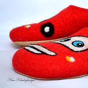 Обувь ручной работы. Ярмарка Мастеров - ручная работа Валяные детские тапочки Молния Маквин. Handmade.