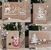 Открытки handmade. Livemaster - original item Set novogodnih cards rustic. Handmade.
