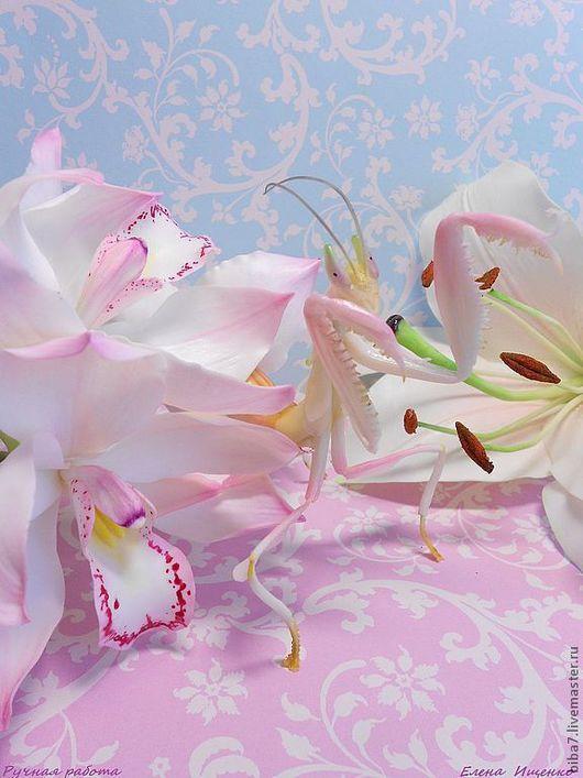 Элементы интерьера ручной работы. Ярмарка Мастеров - ручная работа. Купить Орхидейный богомол.Керамическая флористика. Handmade. Розовый, подарок