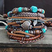 handmade. Livemaster - original item Brown Boho bracelet with jasper and crystal