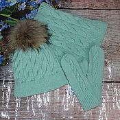 Аксессуары handmade. Livemaster - original item Hat,Snood and mittens mint color. Handmade.