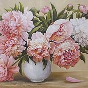 """Картины и панно ручной работы. Ярмарка Мастеров - ручная работа """" Бело- розовые пионы на теплом фоне"""". Handmade."""