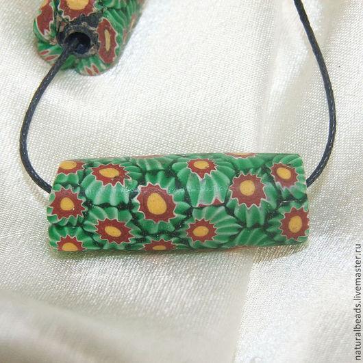 Для украшений ручной работы. Ярмарка Мастеров - ручная работа. Купить ЗЕЛЕНЫЕ ЦВЕТЫ Миллефиори древние индонезийские бусины. Handmade.