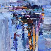 """Картины и панно ручной работы. Ярмарка Мастеров - ручная работа """"Голубая абстракция"""" картина маслом. Handmade."""
