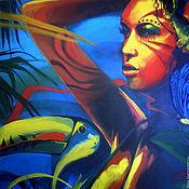 """Картины и панно ручной работы. Ярмарка Мастеров - ручная работа Картина """"Девушка с туканом"""" (холст, масло, 60х60см). Handmade."""