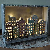 """Ночники ручной работы. Ярмарка Мастеров - ручная работа Световой декор """"Город ждёт..."""". Handmade."""