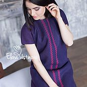 """Одежда ручной работы. Ярмарка Мастеров - ручная работа """"Черничный блюз"""" валяное платье с вышивкой. Handmade."""