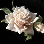 Украшения handmade. Livemaster - original item Silk flowers. Brooch pin ROSE TOMOKO . Indian Mulberry silk.. Handmade.