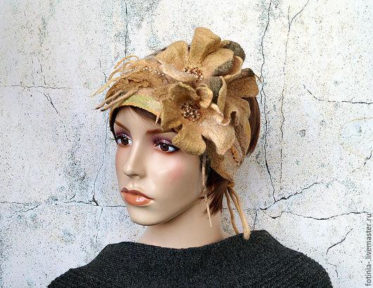 Повязки ручной работы. Ярмарка Мастеров - ручная работа. Купить повязка на голову ОСЕННИЙ ПОЦЕЛУЙ. Handmade. Бежевый, повязка валяная