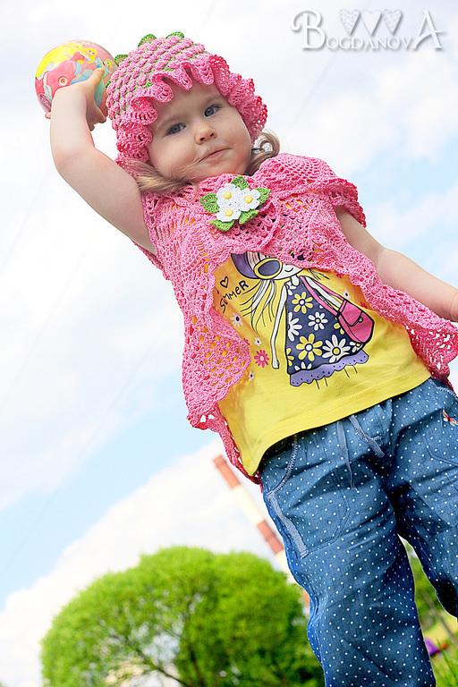 """Одежда для девочек, ручной работы. Ярмарка Мастеров - ручная работа. Купить Комплект """"Ягода Малина"""". Handmade. Розовый, болеро крючком"""