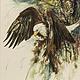 Животные ручной работы. Ярмарка Мастеров - ручная работа. Купить Американский орел (орлан), акварель. Handmade. Коричневый, орел