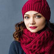 """Аксессуары ручной работы. Ярмарка Мастеров - ручная работа Комплект вязаный """"Аромат шиповника"""", шарф снуд вязаный, шапка вязаная. Handmade."""