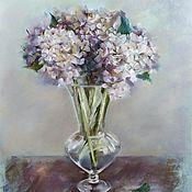 Картины и панно handmade. Livemaster - original item Pastel painting Of her Majesty Hydrangea (purple green flowers). Handmade.