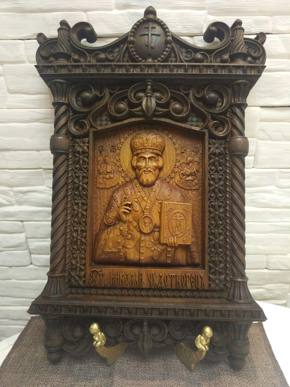 Резная икона Николая Чудотворца, Иконы, Заволжье,  Фото №1