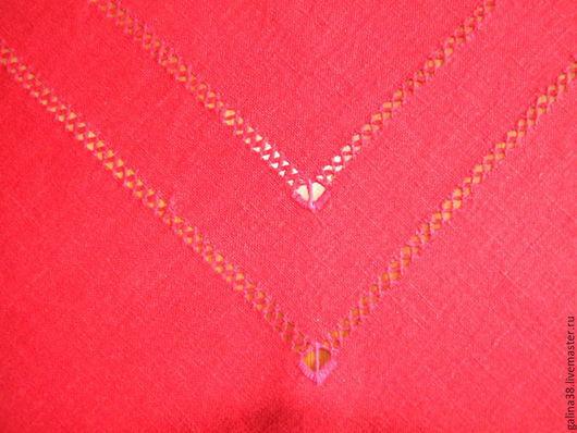 Текстиль, ковры ручной работы. Ярмарка Мастеров - ручная работа. Купить Скатерть льняная с мережкой. Handmade. Ярко-красный