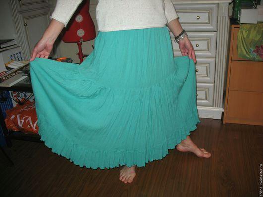Юбки ручной работы. Ярмарка Мастеров - ручная работа. Купить бирюзовая юбка  из  марлевки. Handmade. Бирюзовый, оборки, ярусная юбка